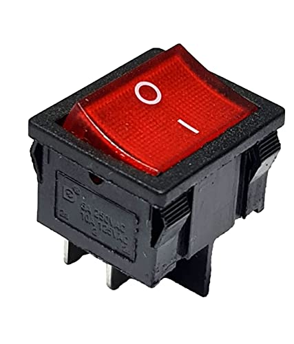 Interruptor basculante rojo basculante de 4 pines, 6 A, 250 V CA, 24 x 21 mm, iluminado