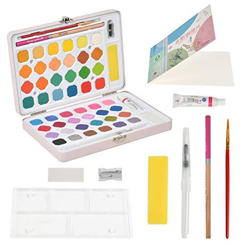 CENBEN 48 Colores Kit Pintura de Acuarela, Caja Rosa Acuarelas Profesionales Portátil,Acuarela Sólida de Alta Pigmentación para Principiantes y Profesionales,con Pincel,Accesorio de Pintura