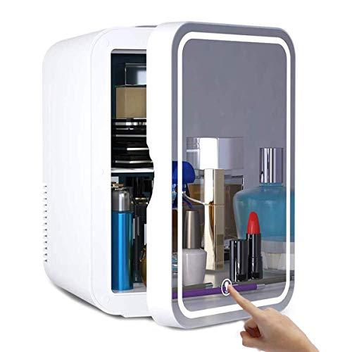 SFSGH Mini refrigerador de Belleza para Maquillaje, refrigerador de cosméticos portátil de 8 l, refrigerador para el Cuidado de la Piel con Espejo de Maquillaje con luz LED, silencioso,