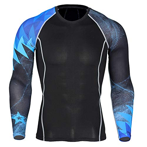 iCKER Base Layer Top Mens Boys Wicking Quick Dry Lightweight Sport Compression Tee Thermal Long Sleeve Shirt for Cycling Skiing Running Hiking XL Blue black