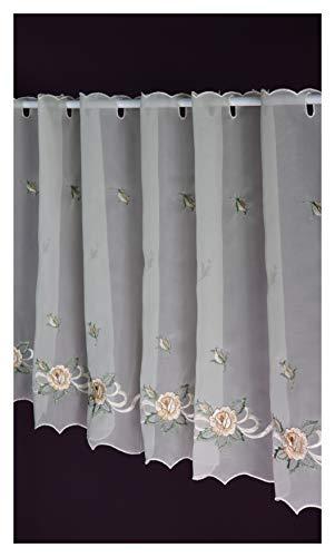 Scheibengardine Rosenblüte Bistrogardine Kurzstore Panneaux Landhaus Vintage 50/120 cm