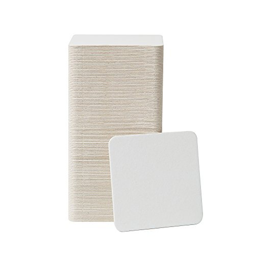 Bar Dudes Cardboard Coasters 100 Pack 4 x 4 inch Square - White Blank Coasters Bulk Set - Paper Coasters for Drinks, DIY, Kids Arts and Crafts