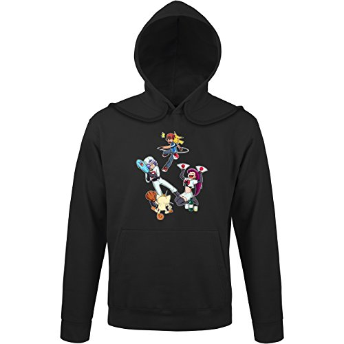 Okiwoki Sweat-Shirt à Capuche Noir Parodie Pokémon - Sasha, Pikachu et la Team Rocket - Une Partie de Poké-Ball : (Sweatshirt de qualité Premium de Taille L - imprimé en France)