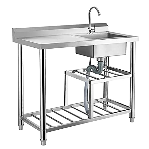 Catering Sink,Wash Basin Stainless Steel 1 Compartment with Worktable Hygienic Robust for Outdoor Indoor Garage Kitchen Laundry Size 100 x 50 x80cm
