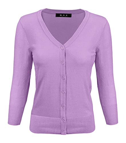 YEMAK Women's Knit Cardigan Sweater – 3/4 Sleeve V-Neck Basic Classic Casual Button Down Soft Lightweight Knitted Top CO078-M.Orchid-M