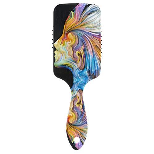 SBLB - Cepillo para el pelo con pintura de arte colorido, peine de plástico suave de nailon anti estático para mujeres y niñas