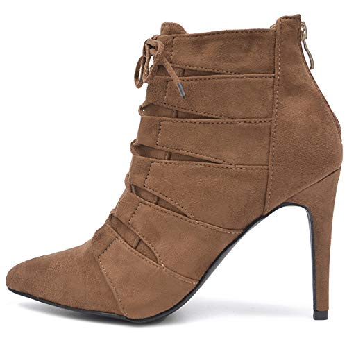 Vain Secrets Damen Ankle Boots High Heels Stiefeletten Pumps in Samz mit Rosa Lack Sohle (39 EU, M3...