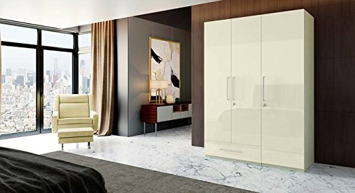 Hekami High Gloss Finish 3 Doors + 1 Drawer Wardrobe