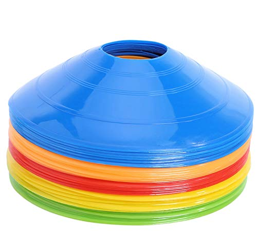 25 Pcs Pro Disc Cones - Training Cones Agility Soccer Cones with Carry Bag for Training, Soccer, Football, Basketball,Kids and Other Sports and Games(5 Colors)