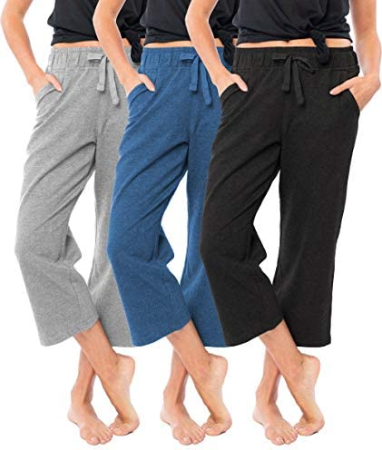 Sexy Basics Women s 3 Pack Soft French Terry Fleece Casual Active Comfy Capri Jogger Yoga Bottom product image