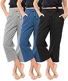 Sexy Basics Women's 3 Pack Soft French Terry Fleece Casual/Active Comfy Capri Jogger Yoga Bottom Lounge & Sweatpants (3 Pack- Black/Grey/Denim, Large)