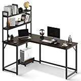 L Shaped Desk with Bookshelves, 59 Inches Brown Home Office Computer Desk with CPU Stand, Black Metal Legs Industrial Corner Desk for Study Writing/Workstation, Easy Assemble