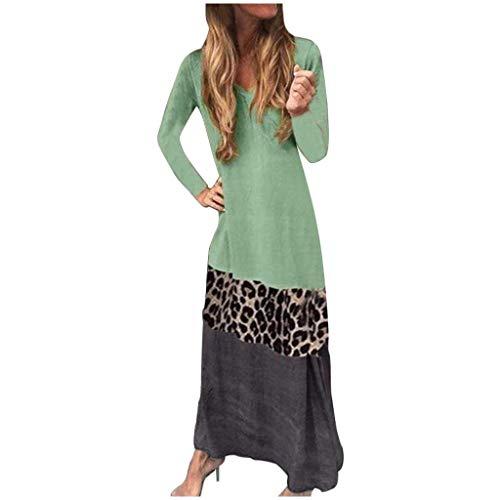 Yowablo Kleid Damen Mode Leopard Patchwork Langarm Loungewear Bequemes lässiges Langkleid (5XL,1Grün)