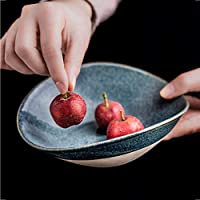 JIEJIEキッチン用品 レトロブルー不規則なセラミックボウル日本のフルーツサラダボウル家庭用ラーメンスープボウル朝食食器