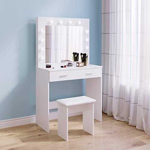 Tocador blanco con espejo de luces Hollywood, mesa de maquillaje con 2 cajones grandes y taburete para dormitorio