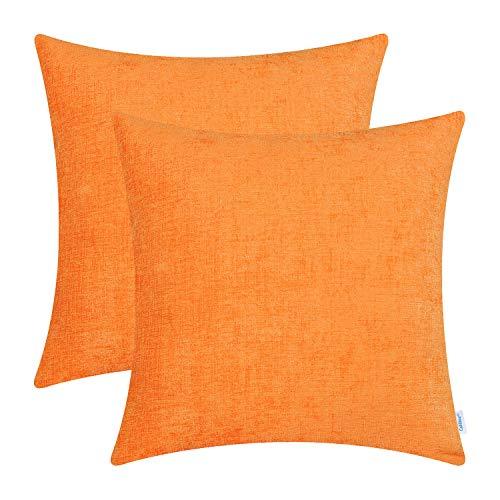 CaliTime - Juego de 2 fundas de cojín acogedoras para sofá, decoración del hogar, chenilla suave teñida, Chenilla, Naranja, 45cm x 45cm