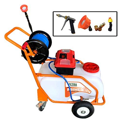 Petra Battery Powered 13 Gallon Pushcart Sprayer - The Prime, Heavy Duty Commercial Sprayer with Custom Built Cart, Off-Road Wheels & Solid Steel Easy-Turn Hose Reel for 100 Foot Hose, 80PSI