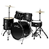 Ashthorpe 5-Piece Complete Full Size Adult Drum Set with Remo Batter Heads - Black