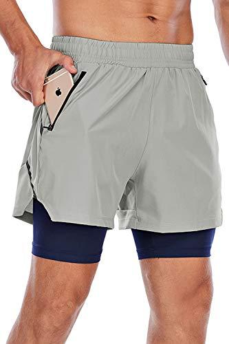 Yidarton Shorts Herren Sport 2 in 1 Kurze Hosen Sommer Schnelltrocknende Laufshorts Gym Trainingsshorts Sporthose (Grau + Königsblau, 2XL)