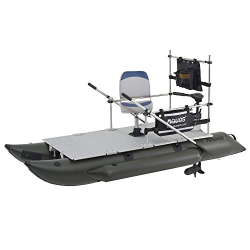AQUOS 2021 New Heavy-Duty for One 10.2 plusft Inflatable Pontoon Boat with Stainless Steel Guard and Folding Seat and Haswing 12V 55LBS Transom Trolling Motor for One Person Fishing