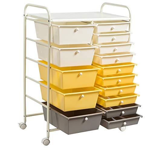 COSTWAY Carrito Auxiliar Almacenamiento con Ruedas Estructura Metálica,Carro Organizador con 15 Cajones Apilables para Cocina Restaurante (Amarillo)