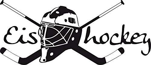 GRAZDesign Wandsticker Wanddeko Jugendliche Junge Eishockey - Geschenkidee Geburtstag Sport Hockey Wappen - Wandtattoo Schläger mit Helm / 113x50cm / 660164_50_070