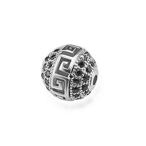 XCVB Diy sieraden ketting armband maken van gat kralen ronde bal kralen micro pave koperen sieraden armband accessoires, witgoud