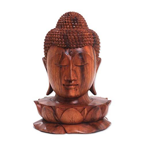 NOVICA Brown Buddha Wood Sculpture, Buddha and Lotus'