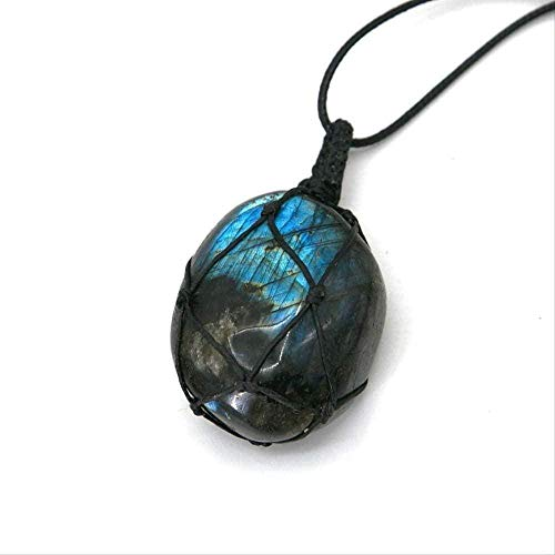 ZHIFUBA Co.,Ltd Necklace Necklace Natural Stone Pendant Wrap Braided Necklace Heart Shape Labradorite Necklace Yoga Macrame Necklace for Men Women Energy Necklace