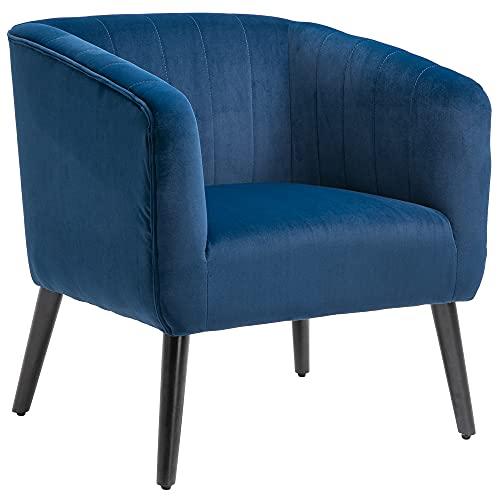 homcom Poltroncina Moderna Sedia Imbottita Stile Nordico, Rivestimento in Velluto e Gambe in Legno, Blu, 71x49x94cm