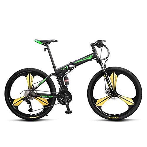 Pieghevole Bicicletta 27 velocità Mountain Bike con Doppio Assorbimento degli Urti 26 inch Citybike per Adulti Bici