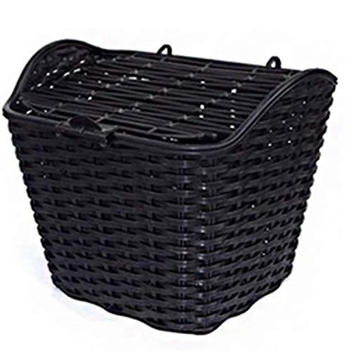 WElinks - Cestino per bicicletta in vimini, impermeabile, impermeabile, con coperchio per manubrio anteriore, per bicicletta, accessorio per bicicletta (nero)