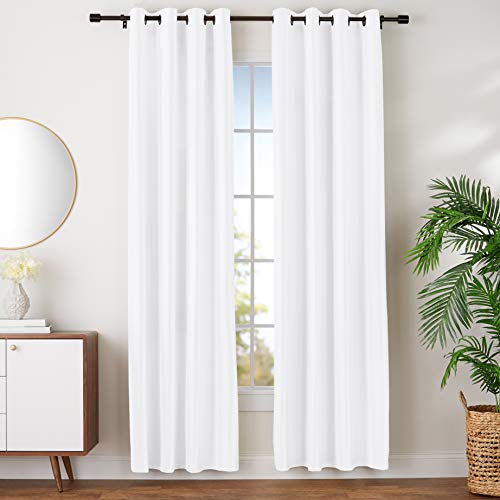 AmazonBasics Room Darkening Blackout Window Curtains with Grommets - 52' x 96', White, 2 Panels