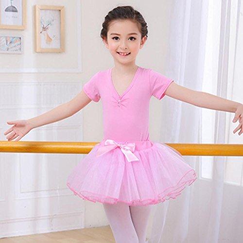 HUOFEINIAO-Tanzkleidung Kindertanzkostüme Übungskleidung für Mädchen Herbst- und Sommerkostüme Langärmeliger Kinder Tutus aus Baumwolle, 120cm, pink