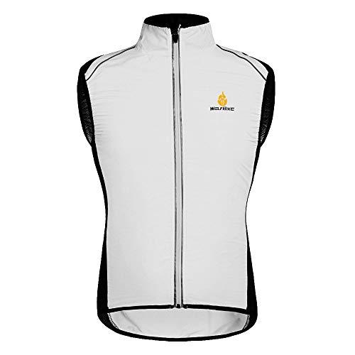 HYSENM Chaleco sin mangas para ciclismo y bicicleta de montaña con logo Tour de France [Cortavientos + Transpirable + Reflectante] Poliéster Medio Blanco