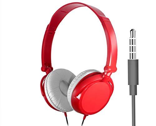 Karaoke Bajo Pesado De Las Auriculares del Juego De Ordenador De Las Auriculares De Las Auriculares del Teléfono Móvil con El Micrófono Cable de 3,5 mm Rojo