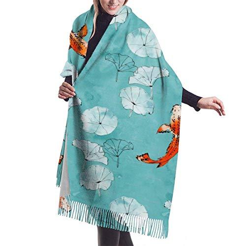 JONINOT Seerose Koi in Türkis Kaschmir Schal für Frauen Männer Leichte übergroße Frühling Weiche Winterschals Fransen Schal Wrap