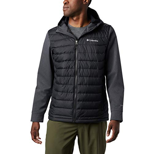 Columbia Men's Powder Lite Hybrid Hooded Winter Jacket, Water repellent, Black, Black Heather, 2X
