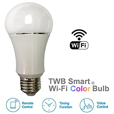 Color LED Light Bulb, Wi-Fi Dimmable Smart Bulb, Works with Alexa, Amazon Echo Dot Accessories, and Works with Google Home, Built-in Timer Switch for Smart Home Automation (50W 1-Pack)