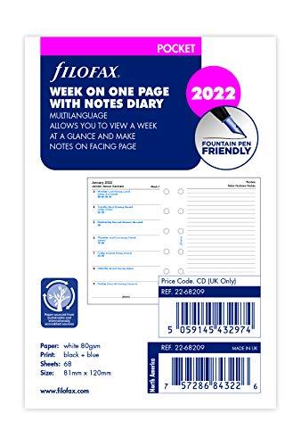 Filofax - Agenda tascabile settimanale con note 4 lingue 2022