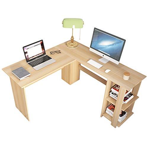 SDHYL Escritorio de esquina en forma de L, muebles de estación de trabajo de estudio para el hogar, oficina con estantería de almacenamiento abierta de roble