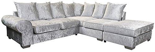 Crushed Velvet Corner Sofa Suite Left Right Silver Cream Black (Right, Silver)