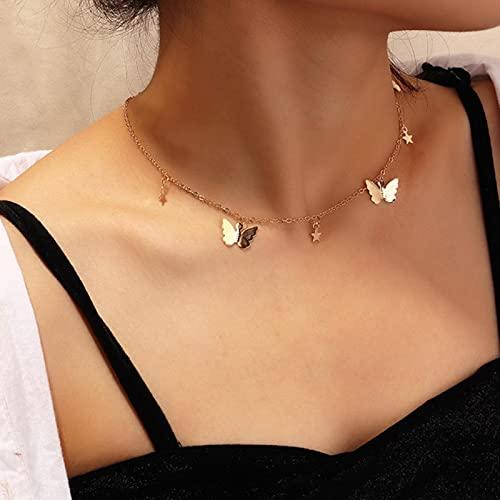 POSDN Gargantilla de Moda, Collares con Colgante de Perlas Bonitas para Mujer, Cadena de Mariposa de Color Dorado, Collar de Fiesta de Estrella, joyería de Regalo