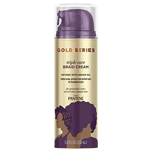 Pantene Gold Series Triple Care Braid Cream, for Curly and Coily Hair, Infused with Argan Oil, 5 Fl Oz