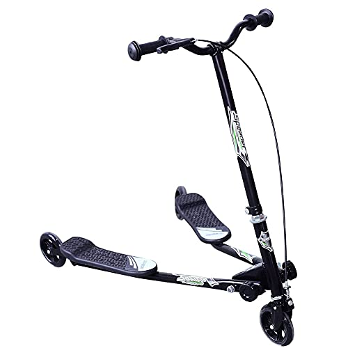Tastak Scooter de Equilibrio Plegable de Deriva de Doble Pedal para niños Adultos 3 Ruedas Speeder Scooter Tri Slider Winged Push Motion niños Ajustable