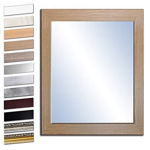Bilderdepot24 Wandspiegel Spiegel Badspiegel Holzrahmen komplett mit Echtglas - Eiche Grand - ca. 50x40 cm