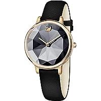 Swarovski 35mm Black Leather Band Steel Case Sapphire Crystal Quartz Analog Women's Watch (Black)
