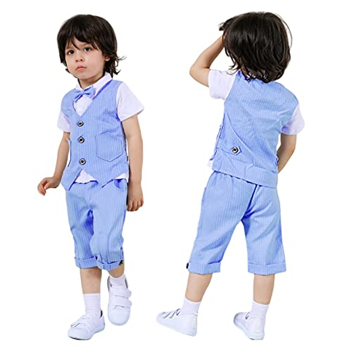 Houren Baby Boys Caballer Cumpleaños Equipo de cumpleaños Infantil Boda Partido Traje de Regalo for niños Bautismo Juego de Ropa Formal (Color : Azul, Tamaño : 4T)
