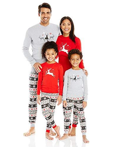 FANTASIEM - Pijama para esquís de Navidad para la familia, color gris y rojo