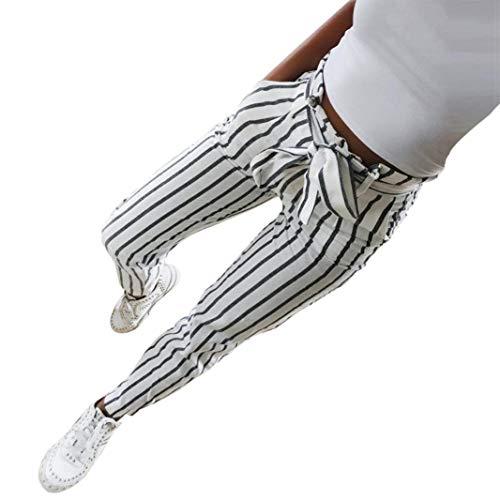 Zarupeng Gestreifte Gitter Freizeithose, Damen Dünne Hohe Taillen-Streifen-Druck Bleistift Beiläufige Hosen Sport Leggings Chino-Hose mit Gürtel (S, Weiß)